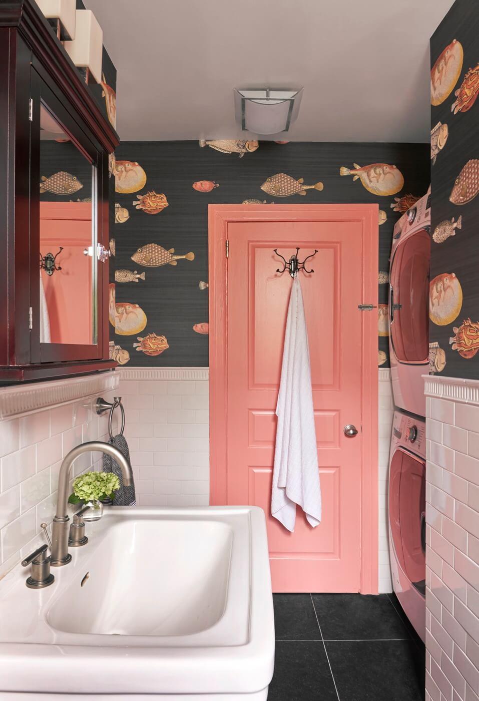 decoration peinture corail salle de bain