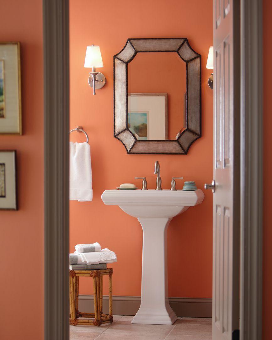 salle de bain elegante corail