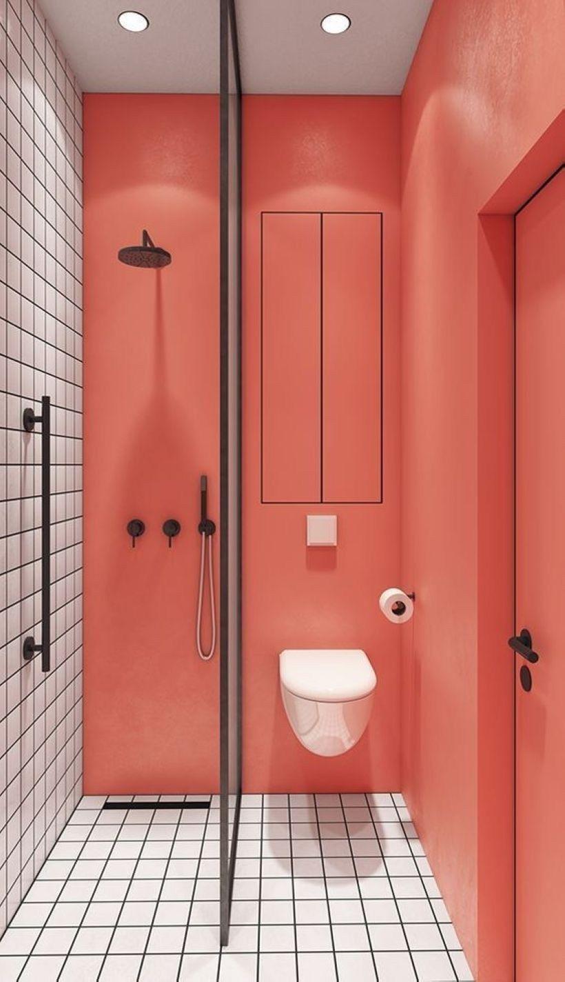 salle de bain minimaliste corail