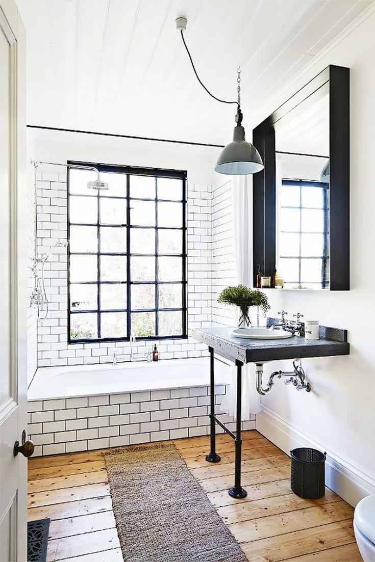 salle de bain moderne vintage sol bois