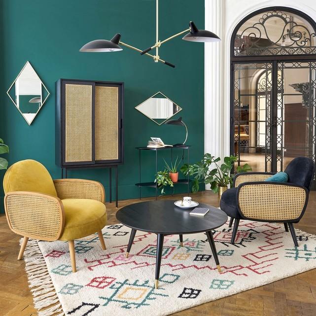 fauteuil velours et cannage decoration