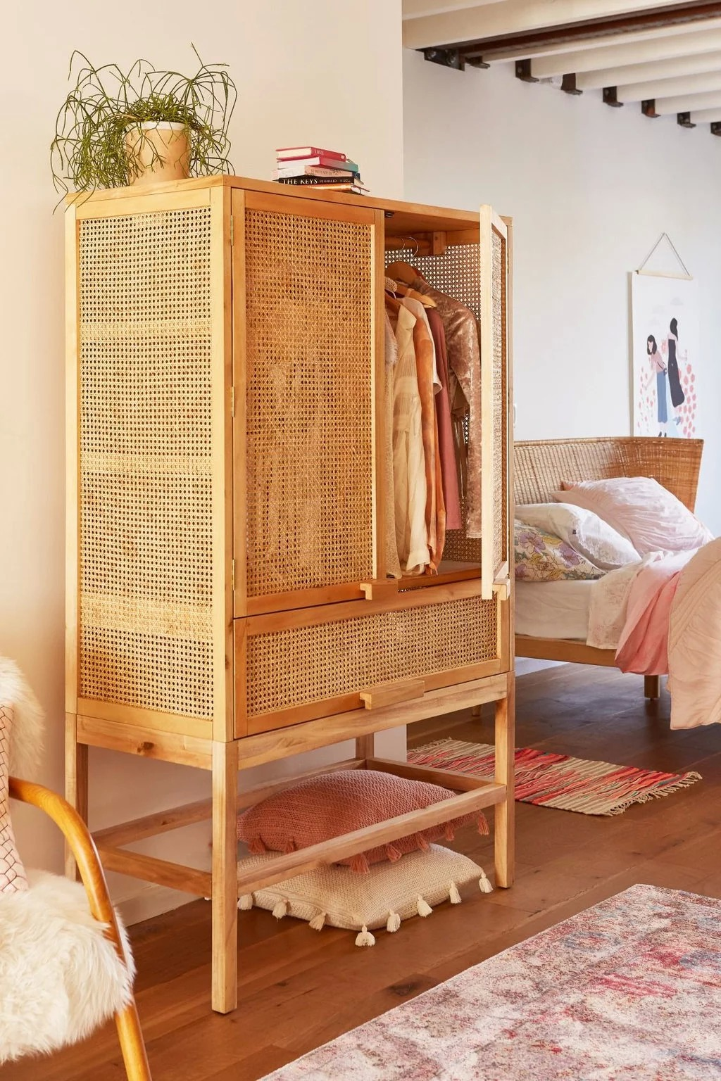 garde robe deco chambre cannage