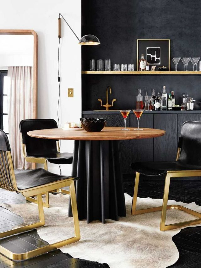 mobilier noir salle a manger decoration contraste