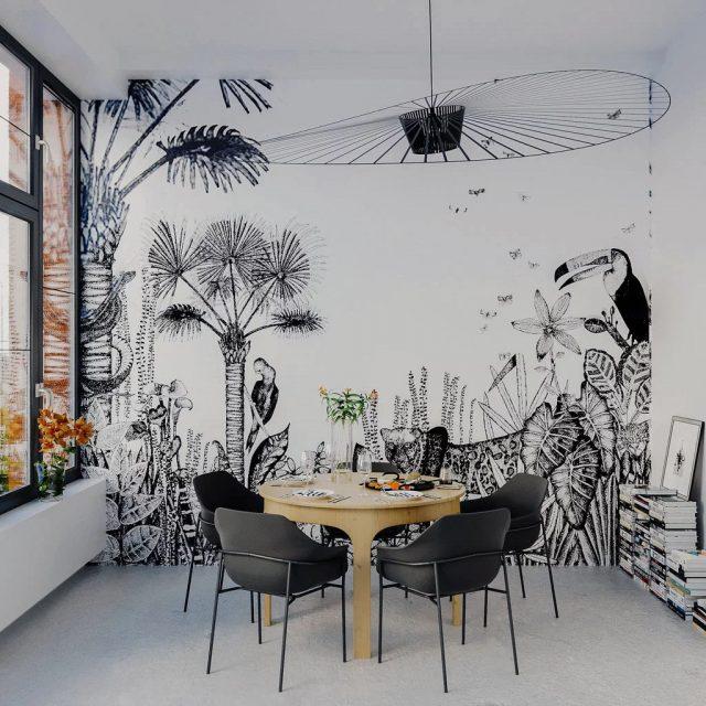 papier peint noir et blanc salle a manger