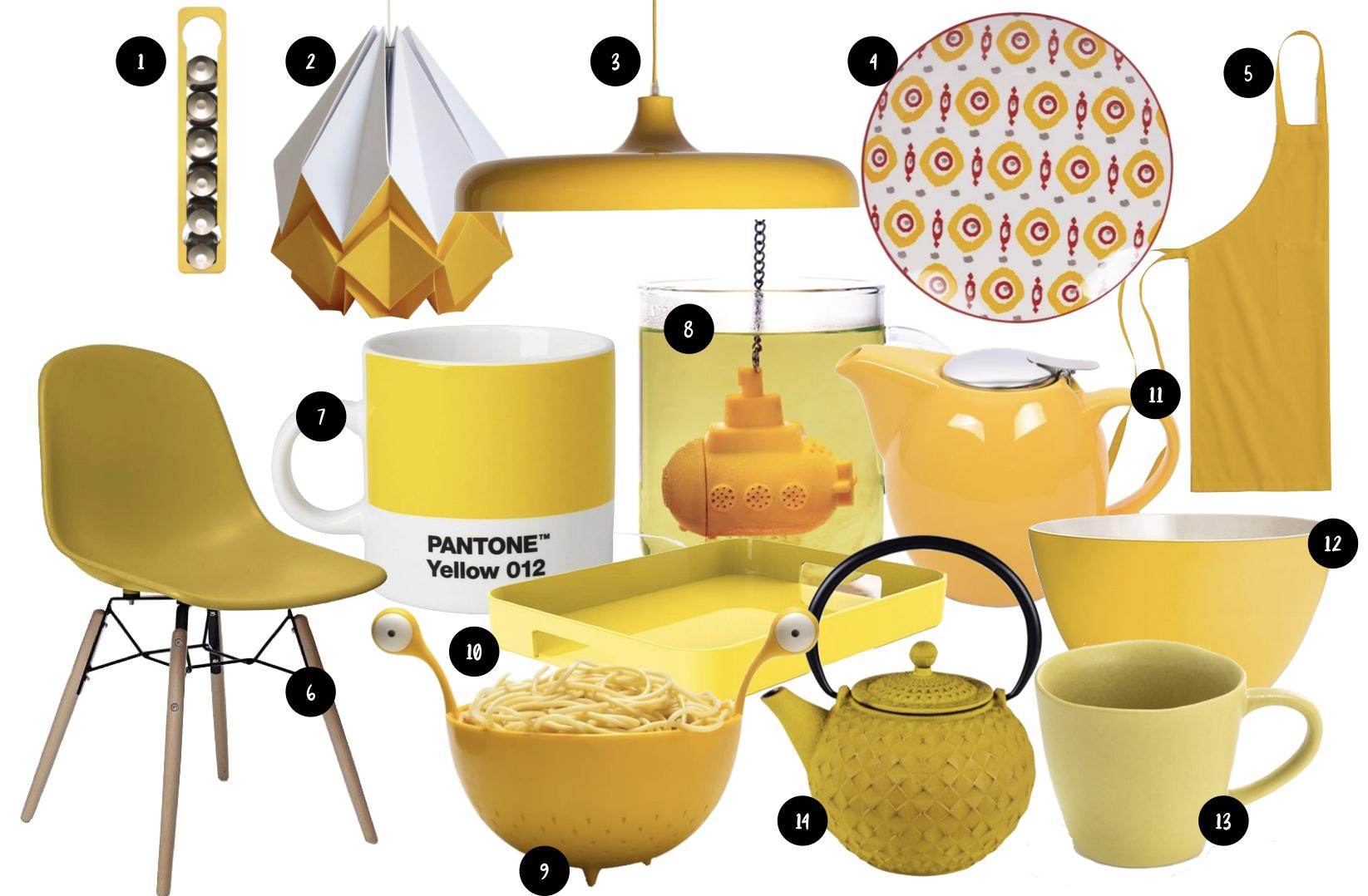 accessoires deco cuisine jaune shopping