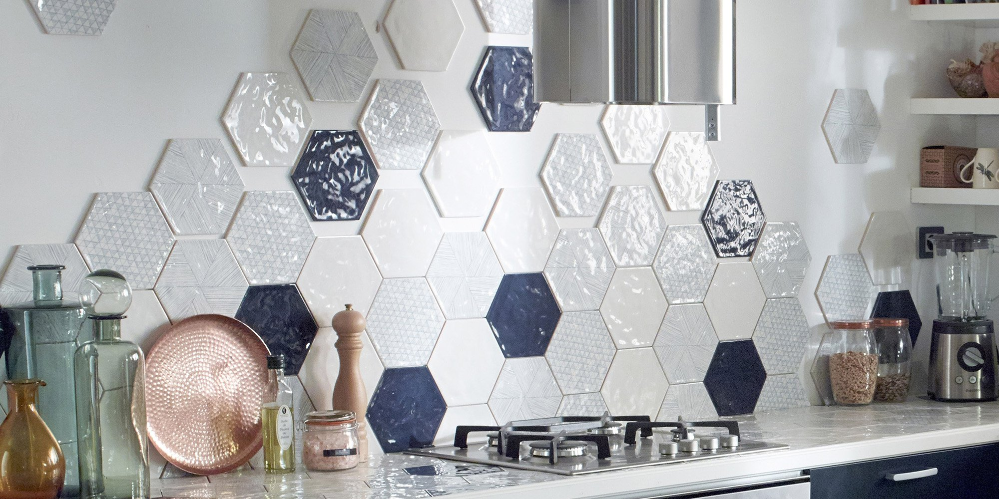 carrelage credence cuisine carrelage hexagonal