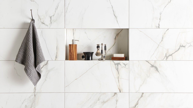 carrelage original salle de bain marbre