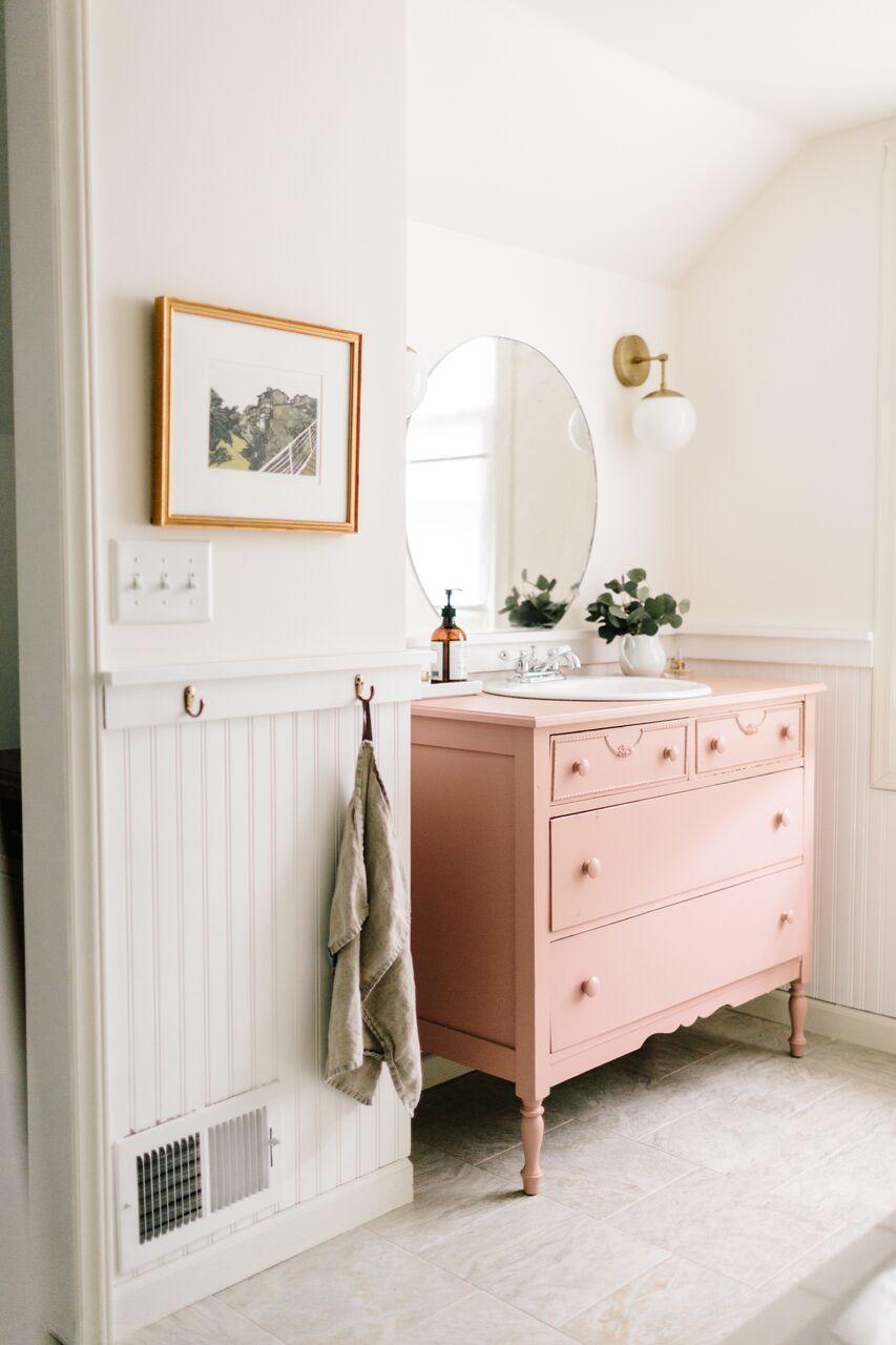 couleur meuble salle de bain peinture rose