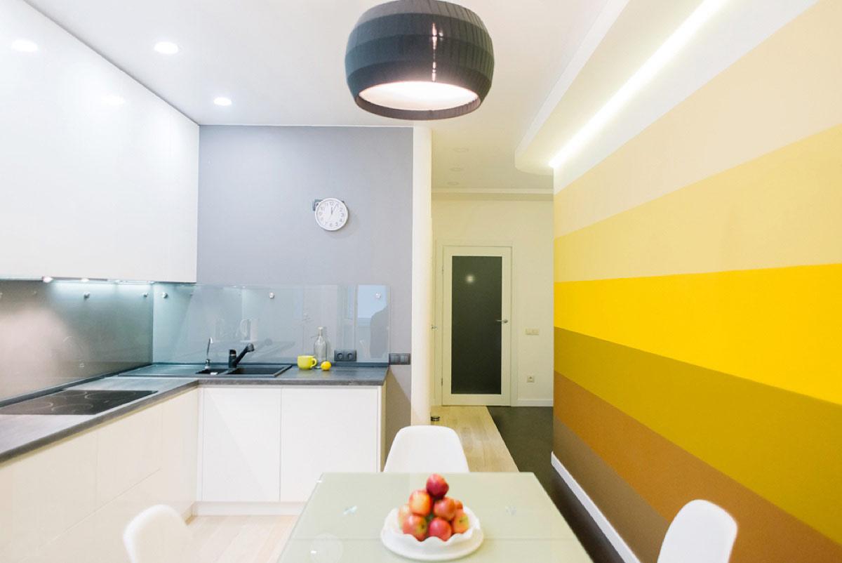 cuisine effet peinture degrade jaune