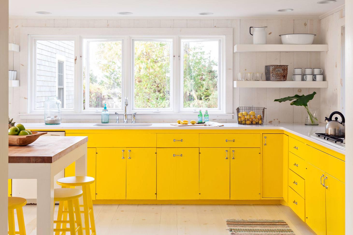 cuisine simple et moderne jaune et blanche