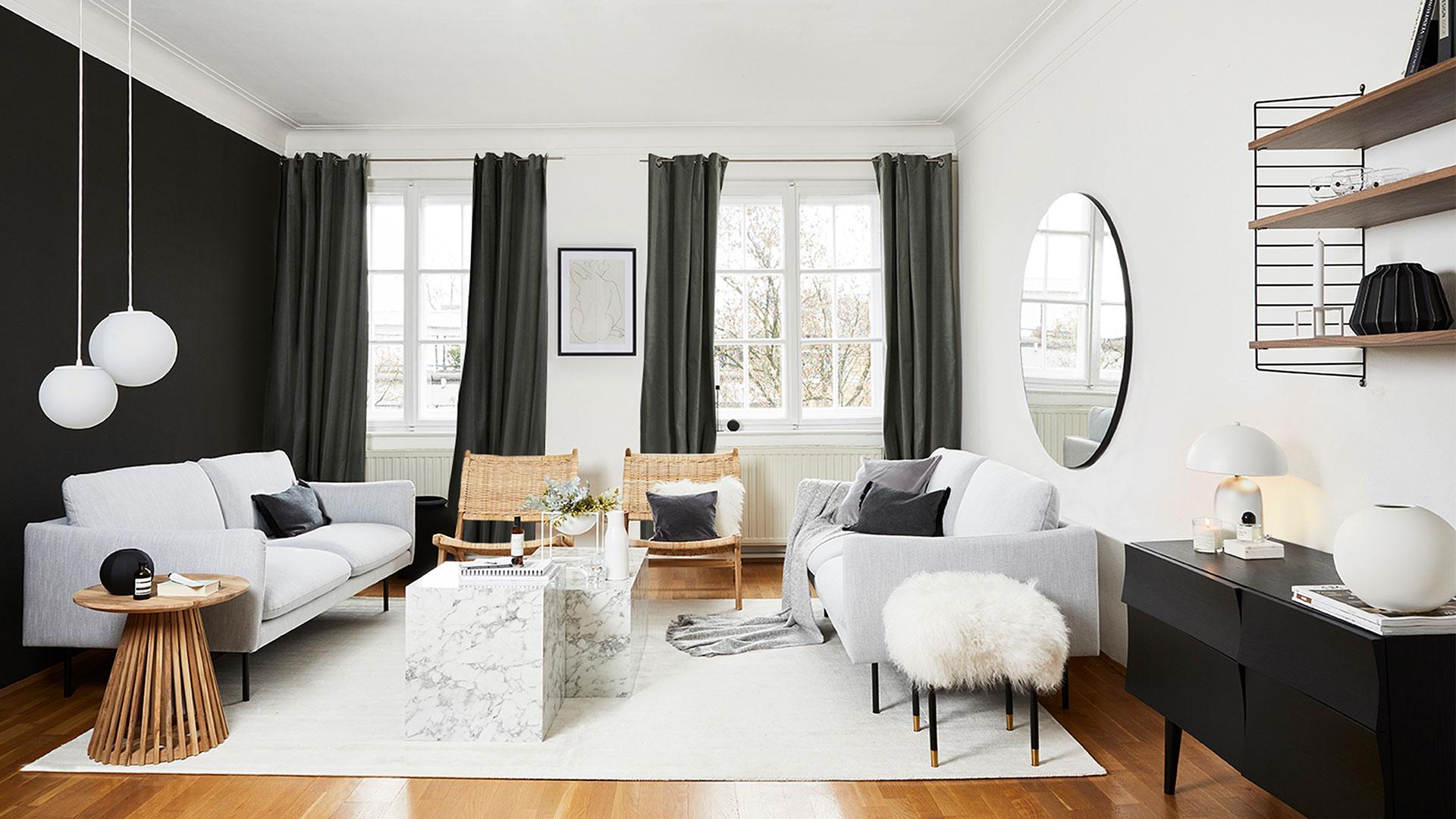 decoration slow salon noir et blanc