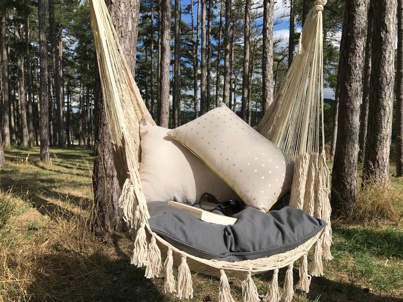 fauteuil en coton suspendu leger jardin
