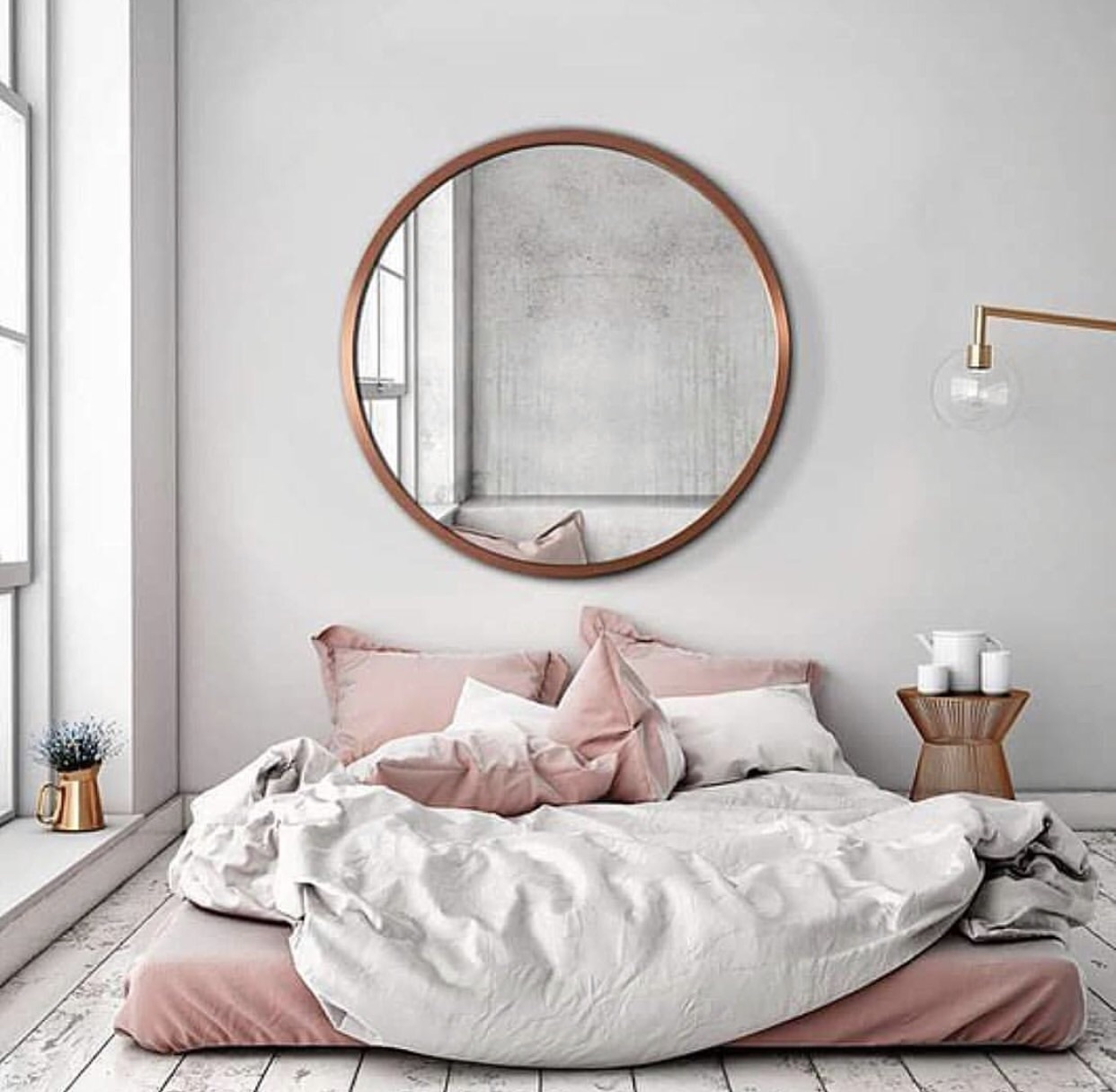 grand miroir rond decoration chambre