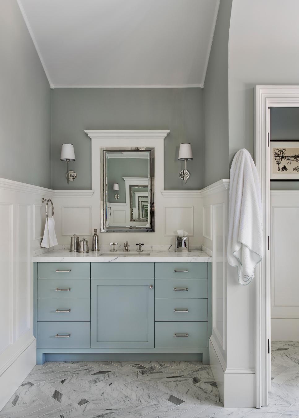 meuble de salle de bain couleur bleue