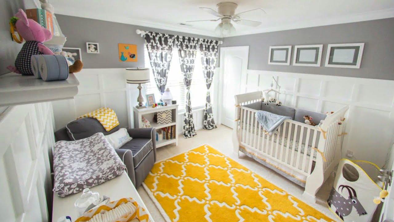 chambre bebe decoration neutre gris et jaune