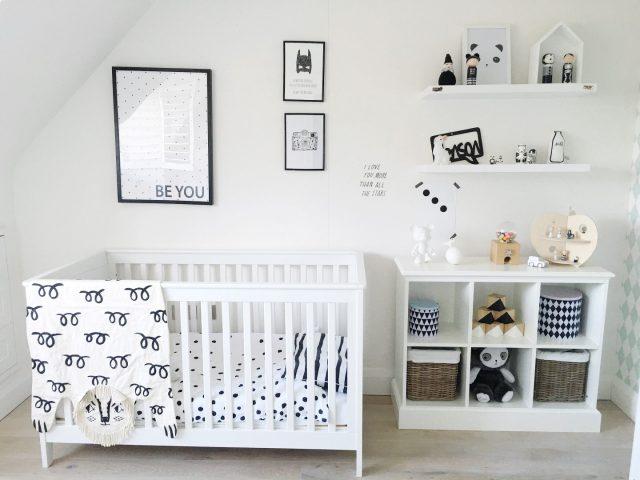 chambre bebe decoration neutre noir blanc simple