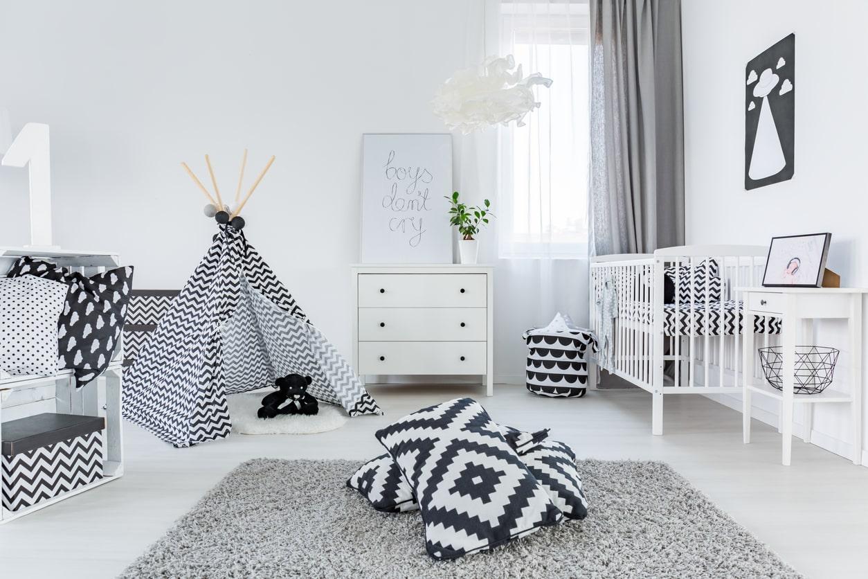 chambre bebe decoration neutre noir blanc