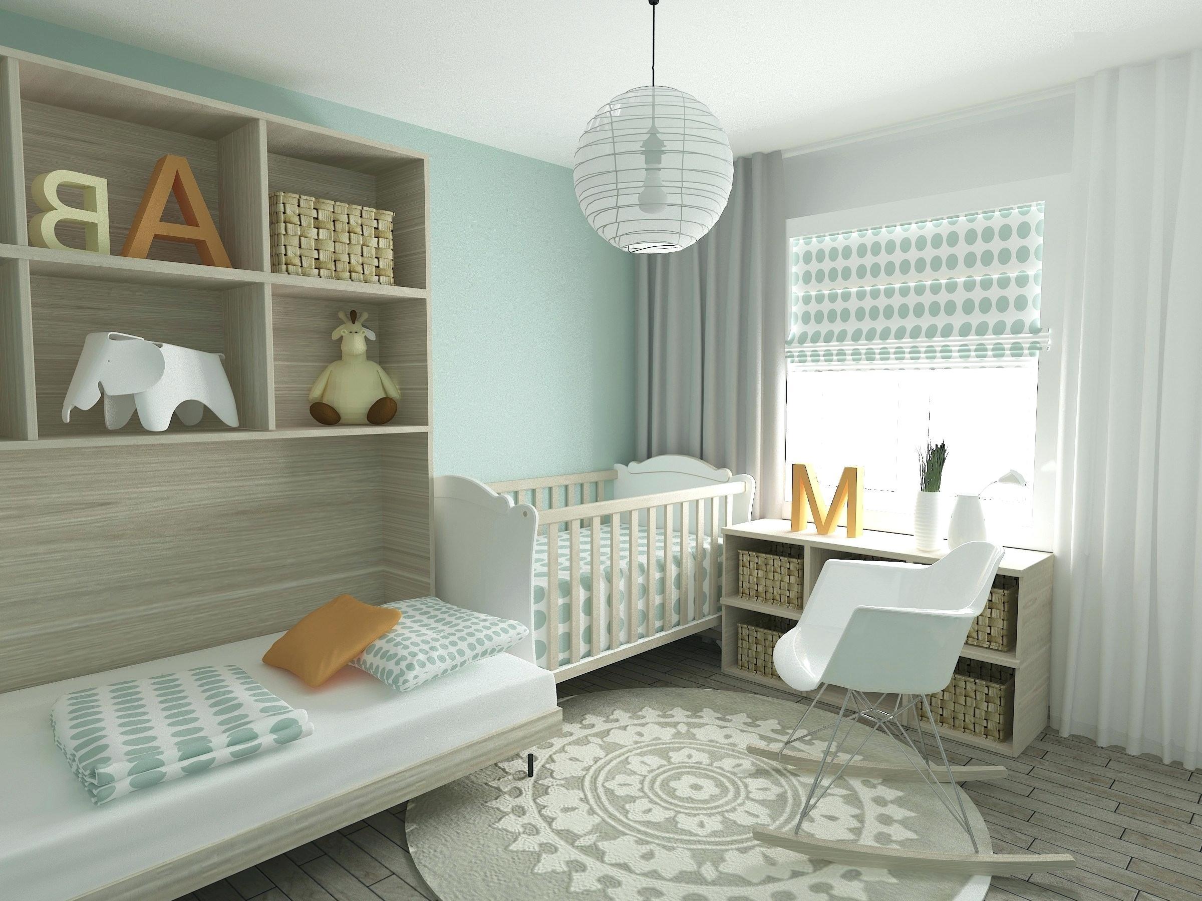 chambre bebe decoration neutre vert balnc bois