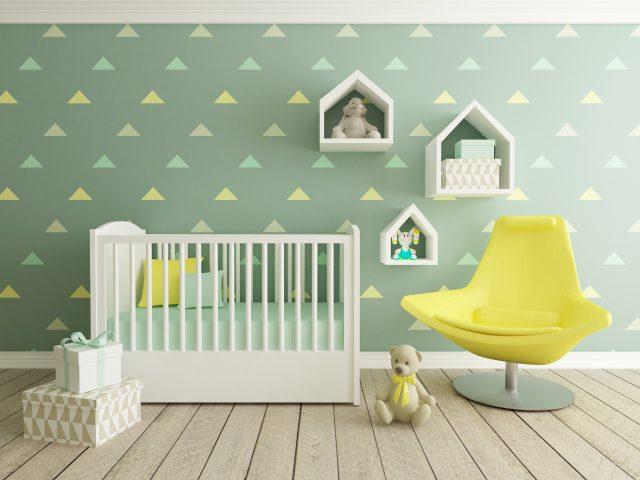 chambre de bebe decoration neutre vert et jaune