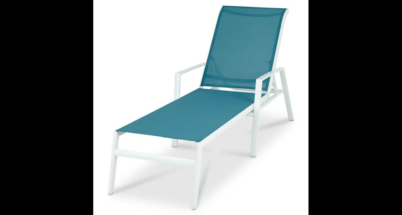 deco jardin bain de soleil toile bleue et metal