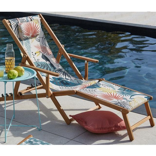 deco jardin chaise longue toile motif tropical