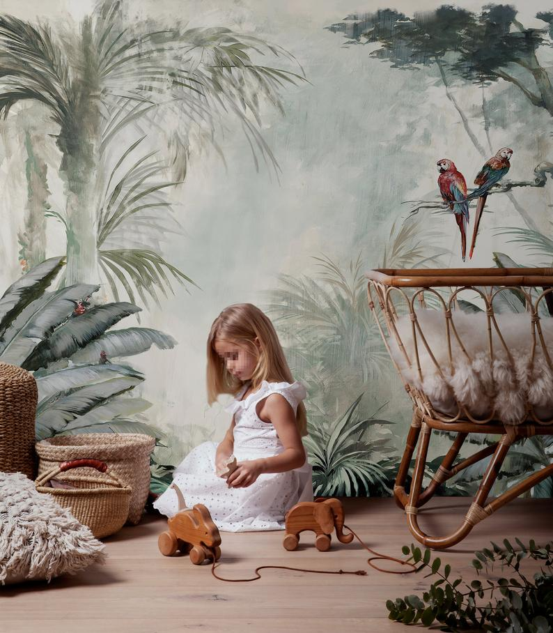 papier peint jungle chambre enfant decoration