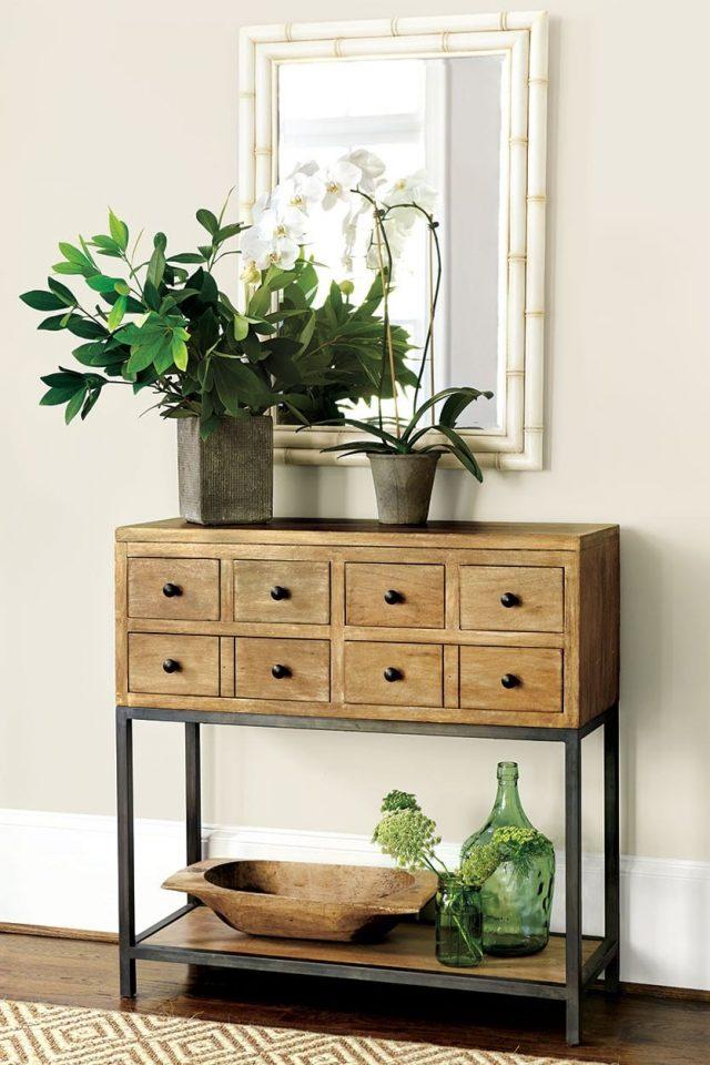 plante console bois naturel entree maison