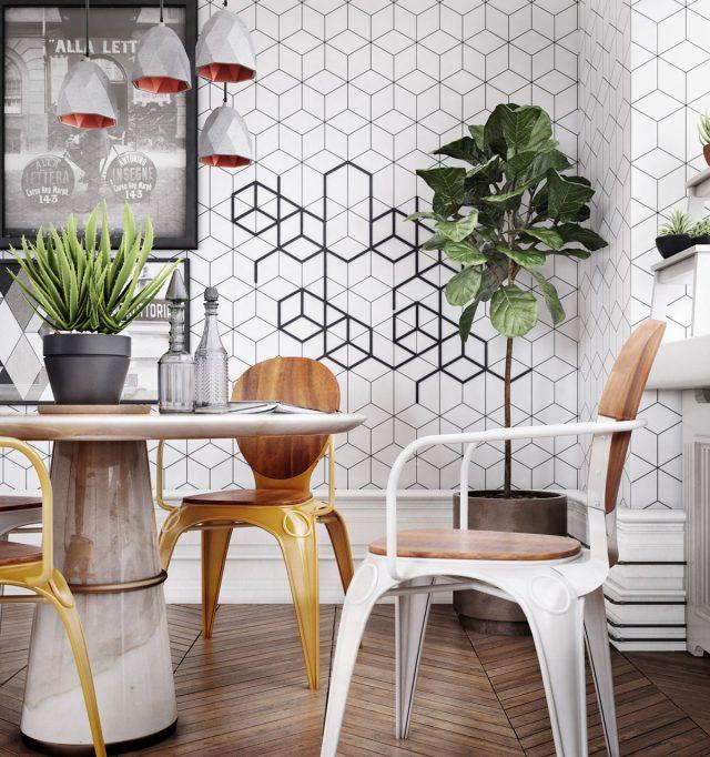 plante et chaise en bois decoration salle a manger