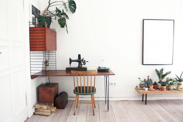plante et meuble en bois vintage