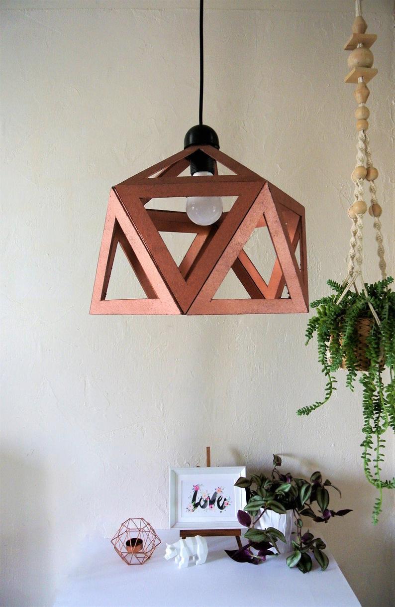 supension origami cuivre deco luminaire