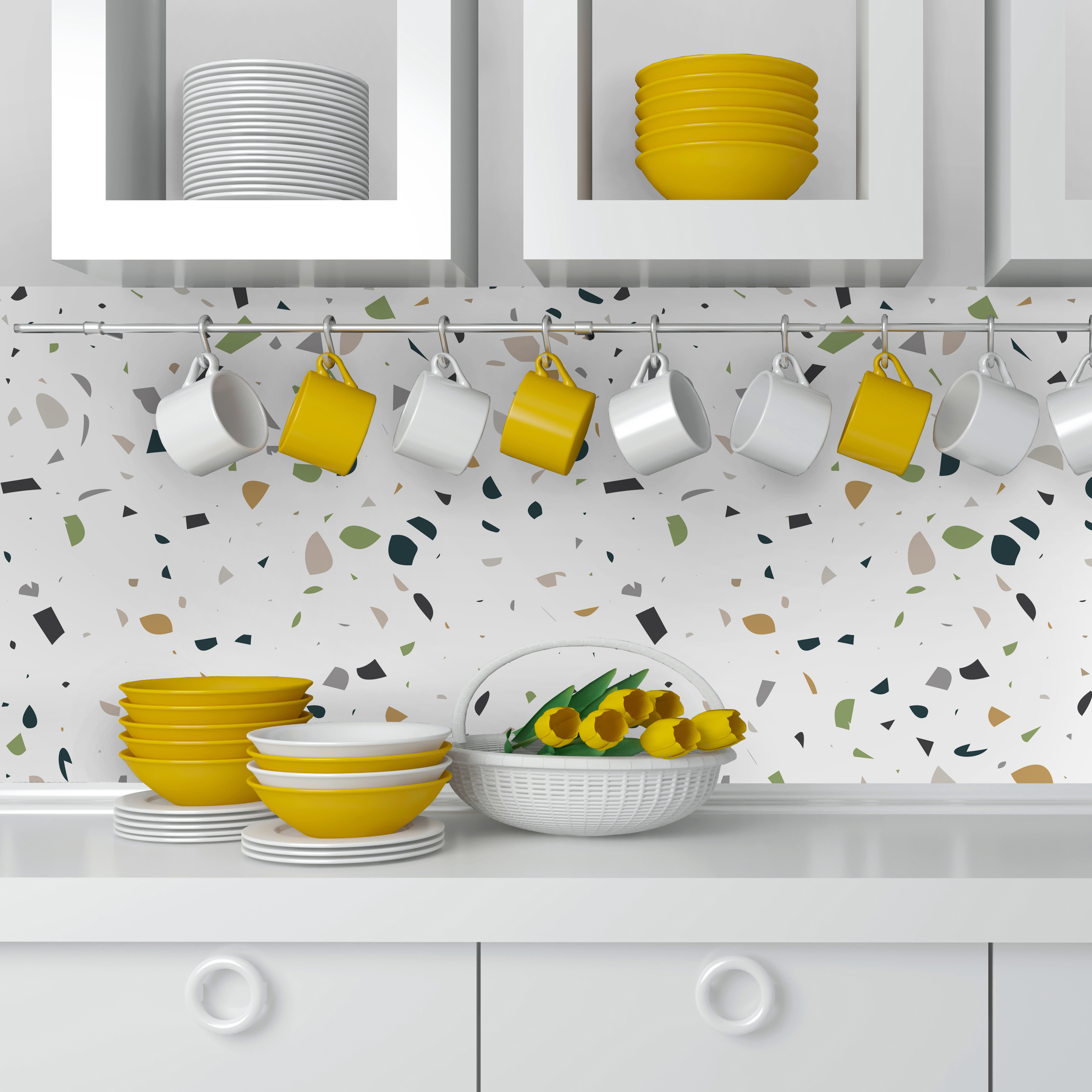 terrazzo credence cuisine couleur