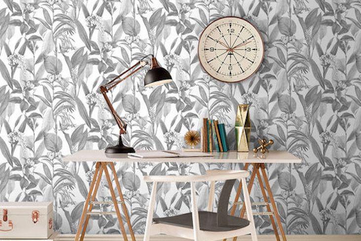 bureau deco papier peint noir et blanc
