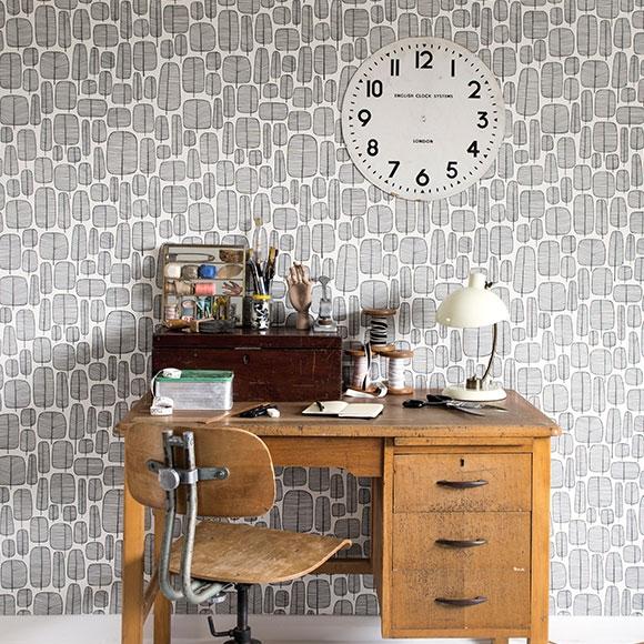 bureau papier peint noir et blanc arbre dessin