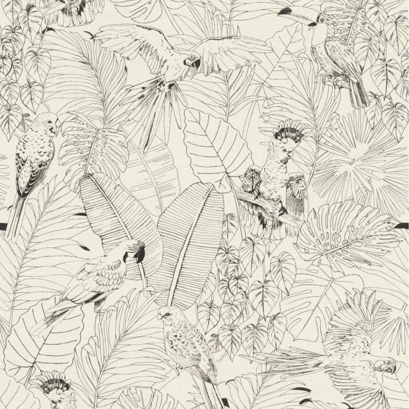 bureau papier peint noir et blanc exotique tropical