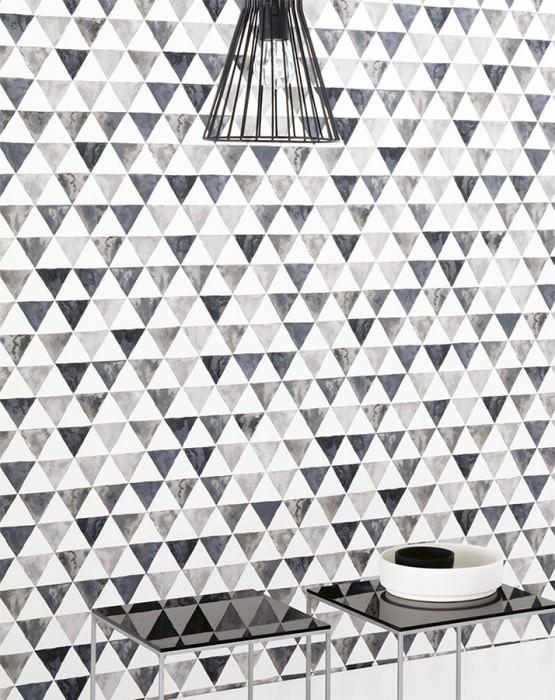 bureau papier peint noir et blanc triangle