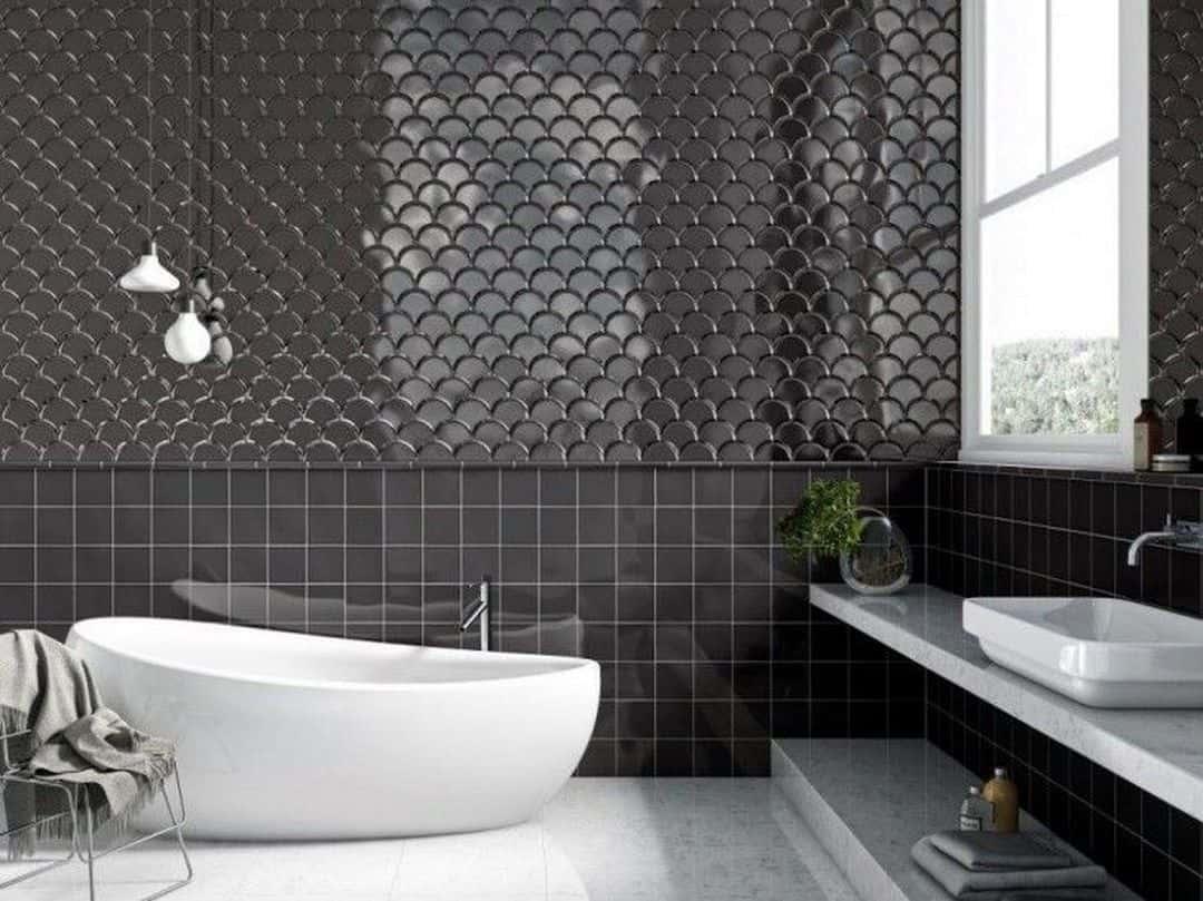 carrelage ecaille graphique noir salle de bain