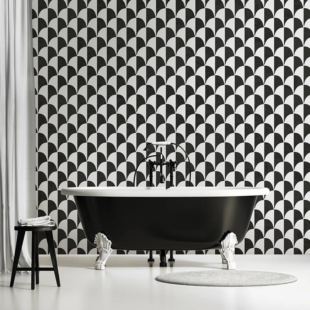 carrelage ecaille noir et blanc graphique