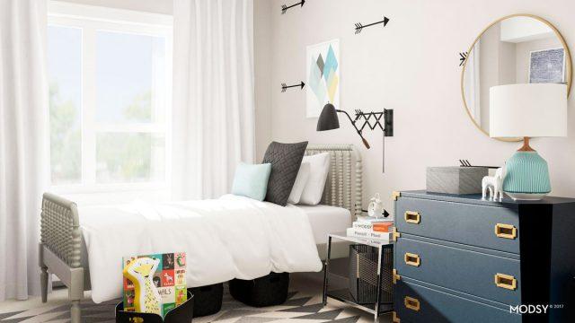 chambre enfant couleur neutre et bleu