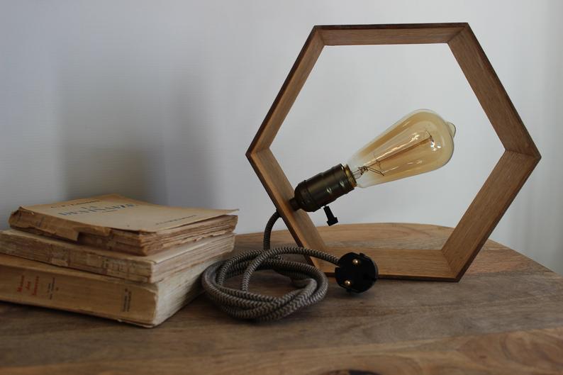 deco bureau lampe bois geometrique