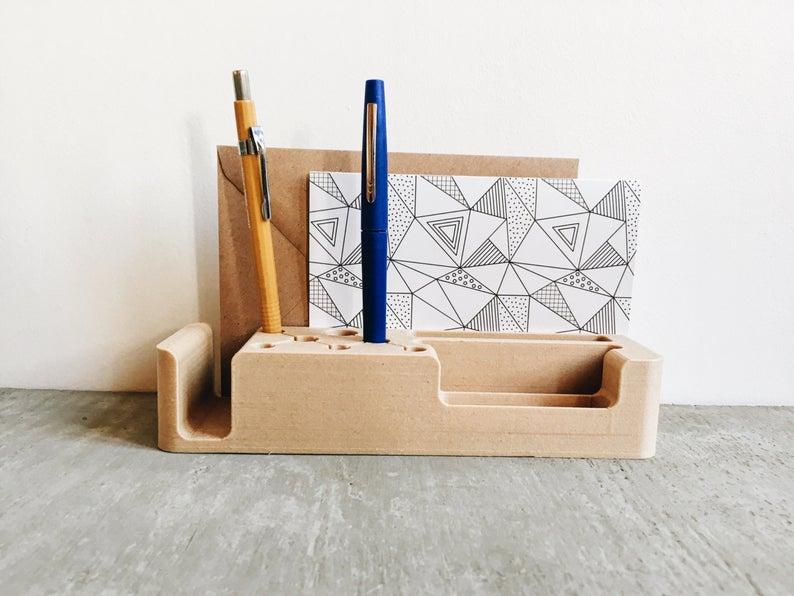 deco bureau organiseur bois minimaliste