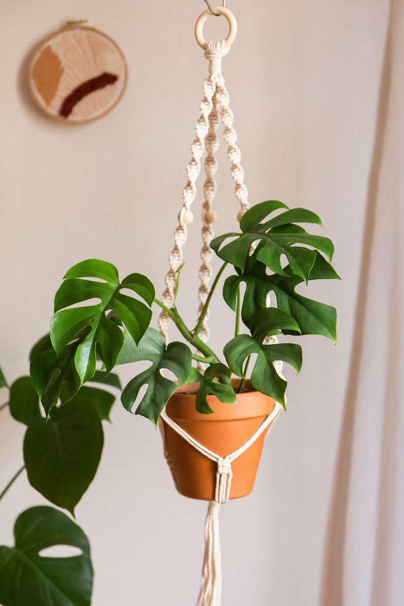 deco bureau plante macrame
