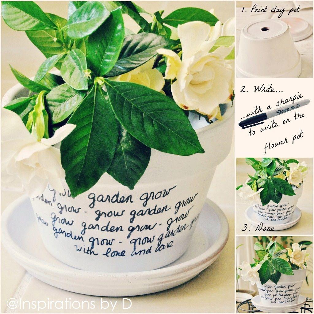 pot de fleur message diy