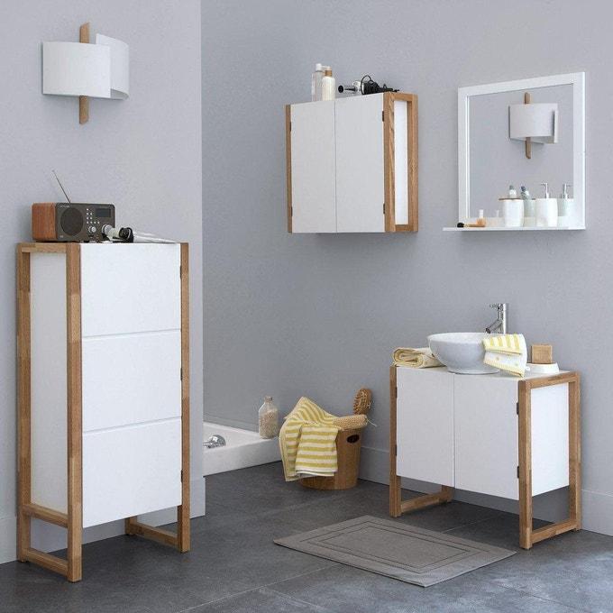 rangement appoint salle de bain colonne blanc bois