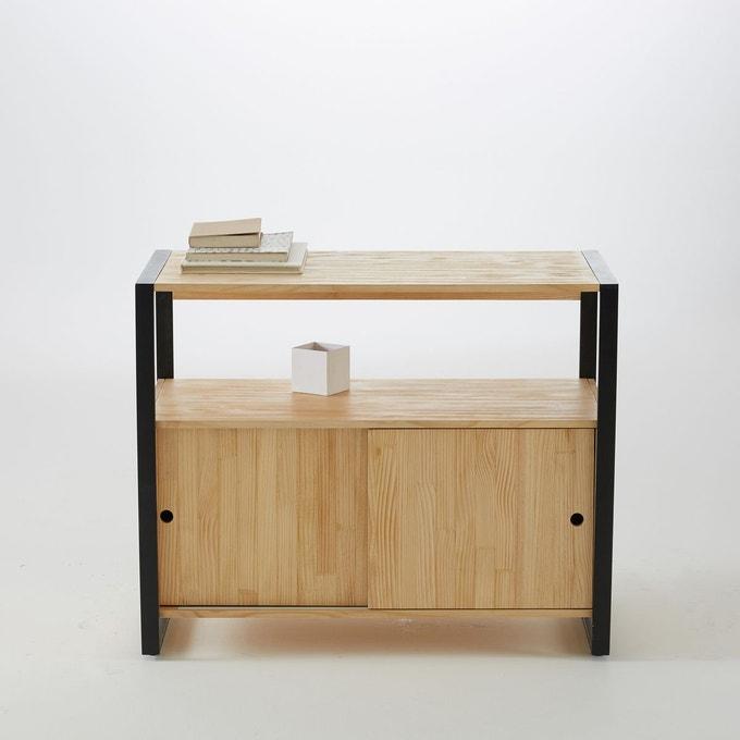 rangement appont salle de bain meuble bas bois metal