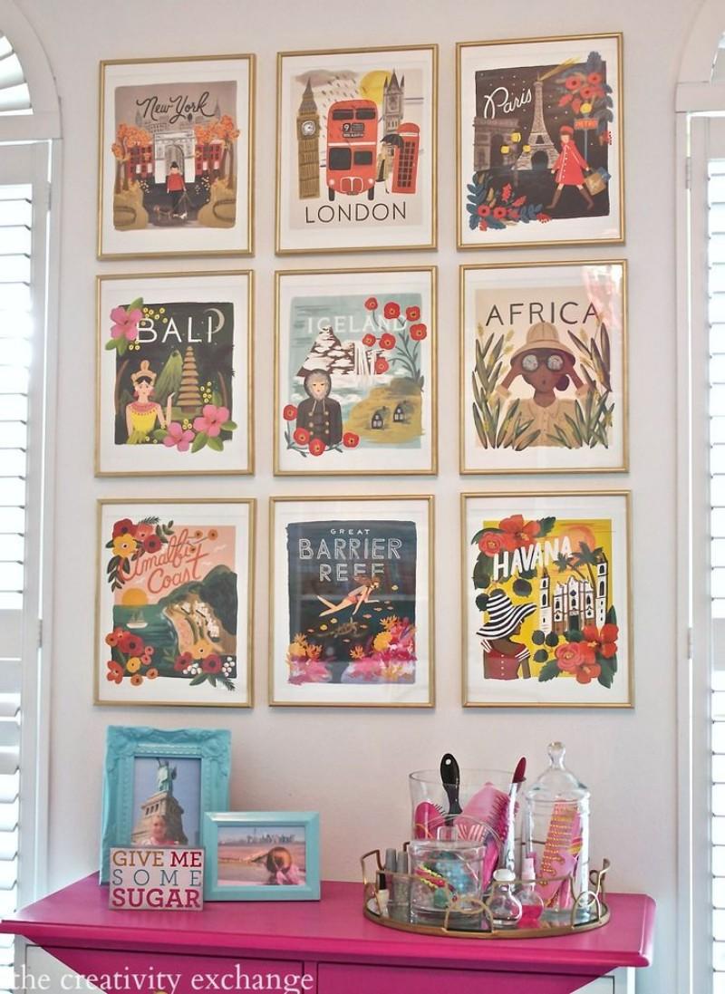 salon deco cadre affiche vintage voyage