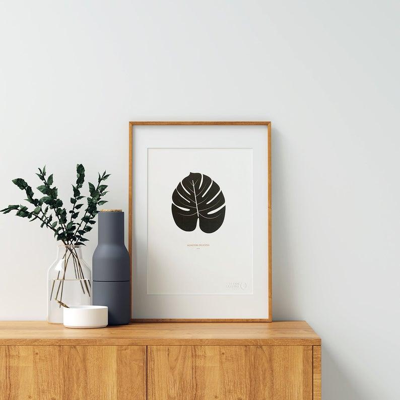 affiche deco plante noir et blanc