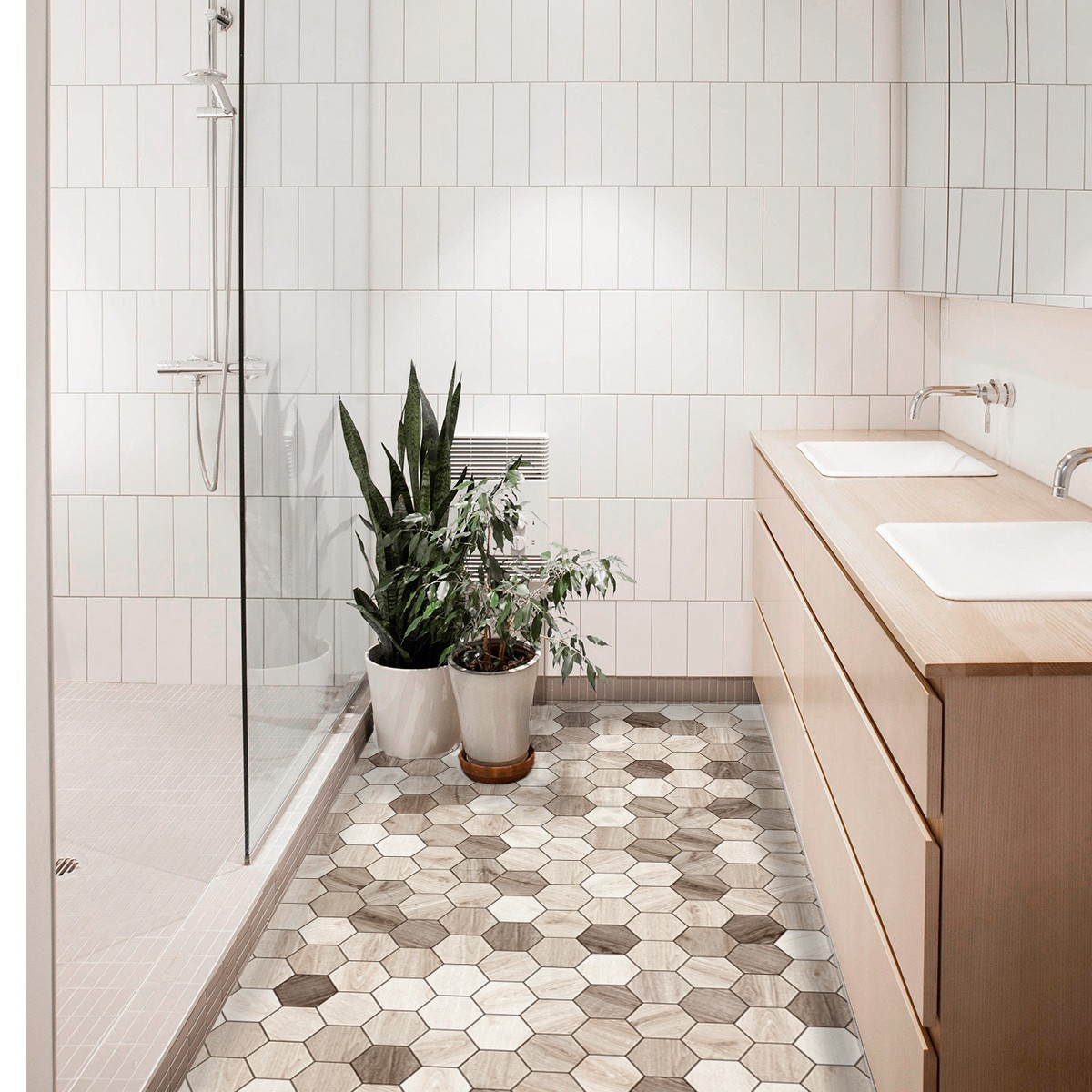 carrelage hexagonal sol salle de bain