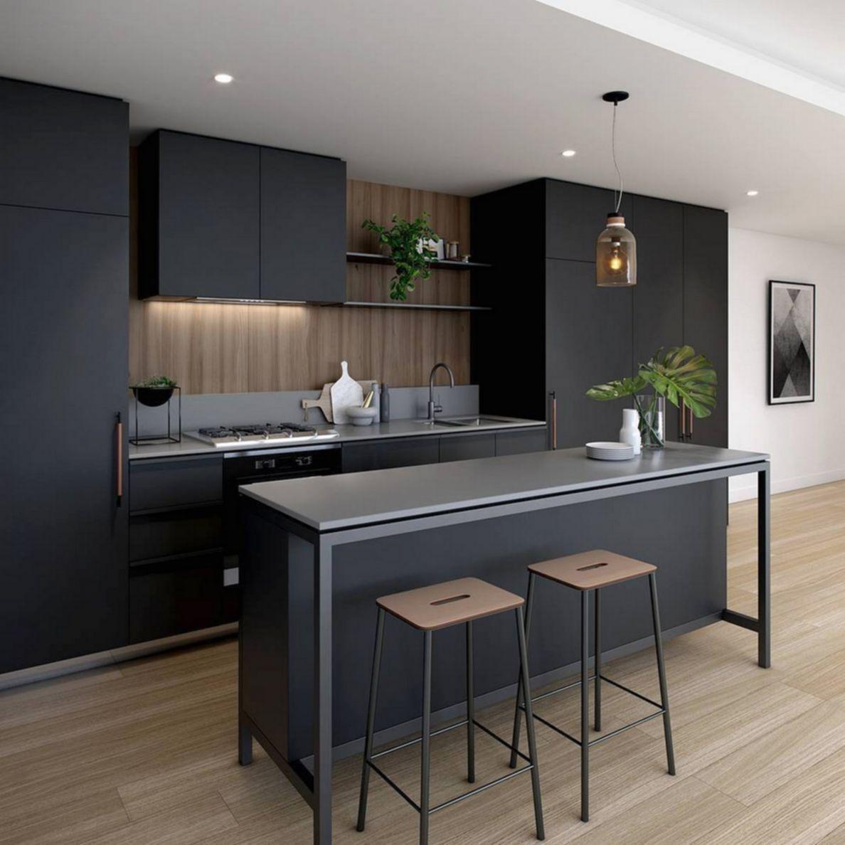 deco cuisine moderne noir et bois