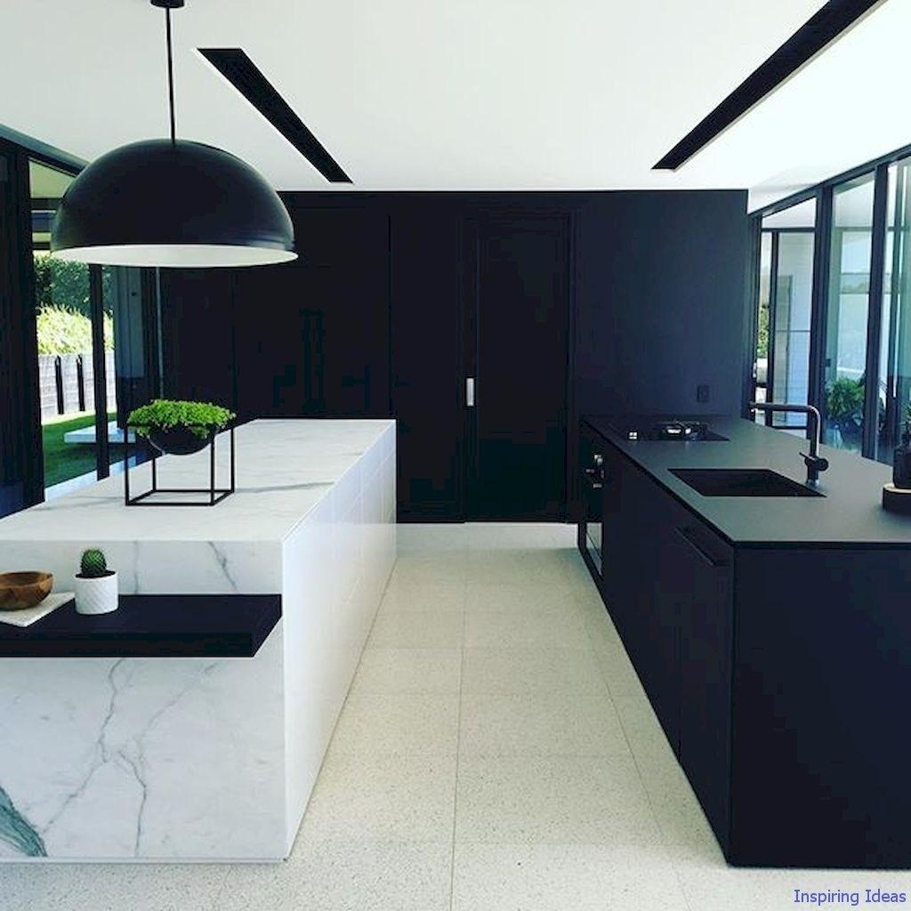 deco cuisine noire design marbre