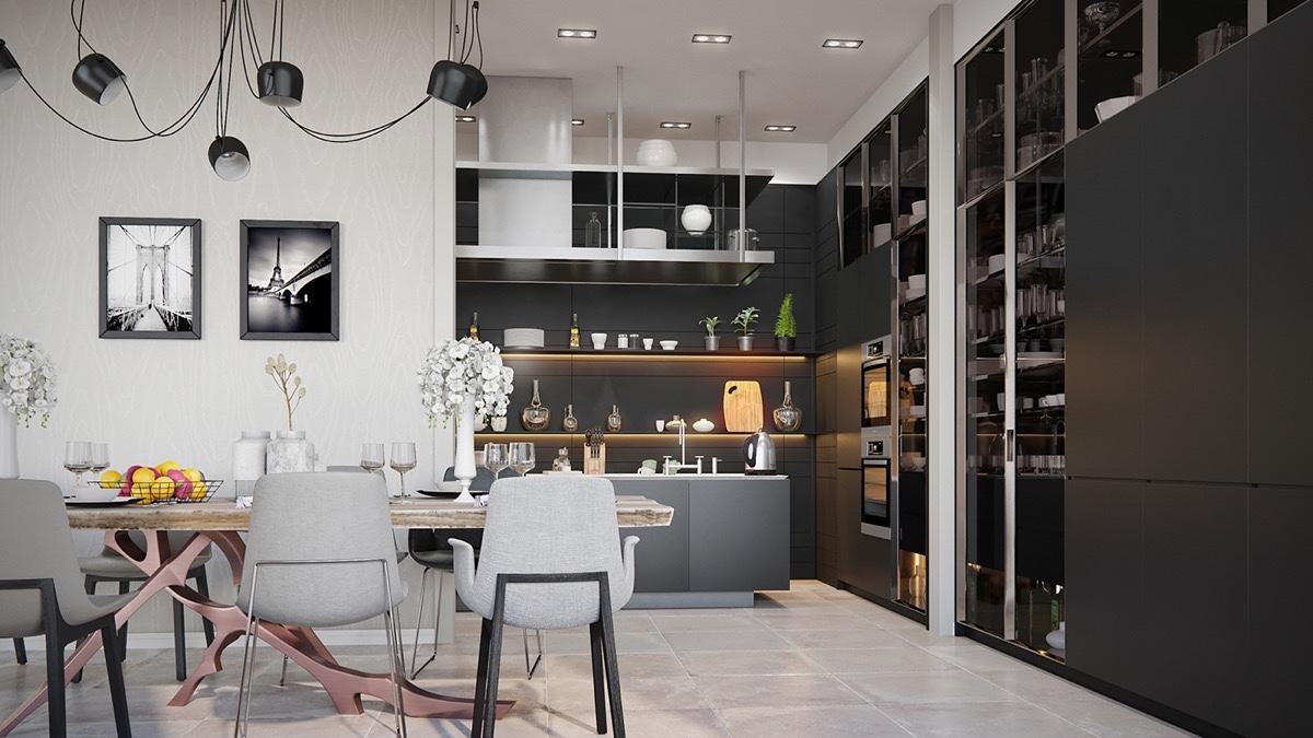 deco cuisine ouverte mobilier noir